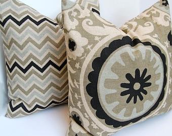 Decorative Throw Pillows Accent Pillows Pillow Covers 18 x 18 Inches Chevron Suzani Combo Stone Denton by Premier Prints