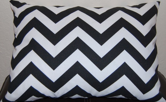 Chevron Lumbar Pillow Black and White Pillow Cover Accent Pillow Cover - 12x16 or 12 x 18 Inches