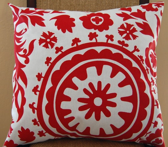 SPECIAL BUY - Pair of Decorative Toss Pillow Covers - SHIPS TODAY - 20 Inches - Lipstick Red and White Geometric