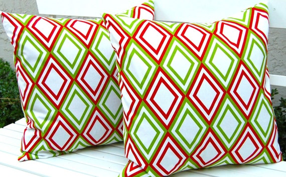 Red and Green Pillow Covers - Christmas Pillow Covers - Diamonds in Red White and Green - 20 x 20 Inches - Green Pillows - Holiday Pillows