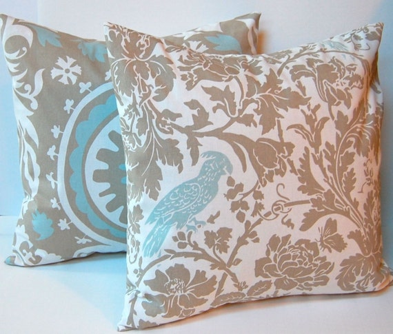 Etsy Throw Pillow Sets : Items similar to Euro Sham Decorative Throw Pillow Covers 24 x 24 Inches - Taupe and White with ...