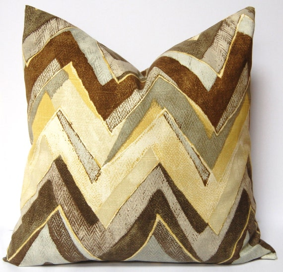 Chevron Decorative Pillows Flamestitch Accent Pillow Covers 20 x 20 Inches - ONE - Brown, Yellow and Gray