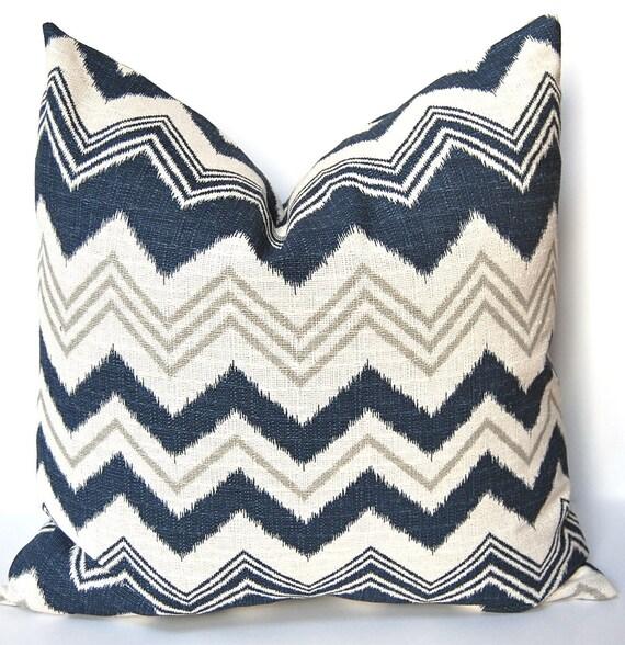 Blue Chevron Pillow, Decorative Pillow Cover, Navy Chevron, Blue Pillow Cover, 20 Inches, One Designer Pillow - Zazzle Chevron