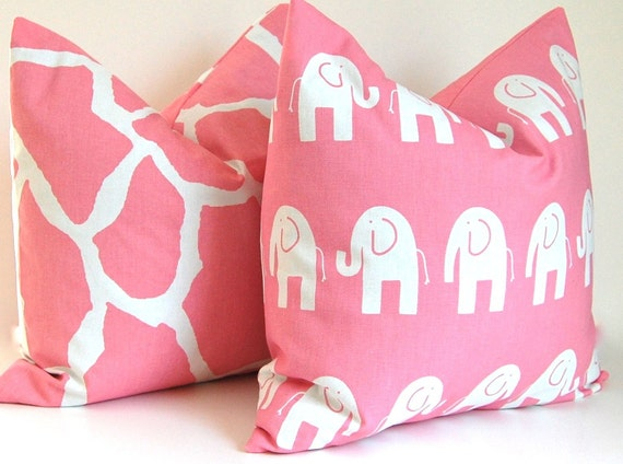 Decorative Pillows Kids Room Children Pillow Pink Elephant and Giraffe Pillow Covers Nursery Decor 16 x 16 Inches