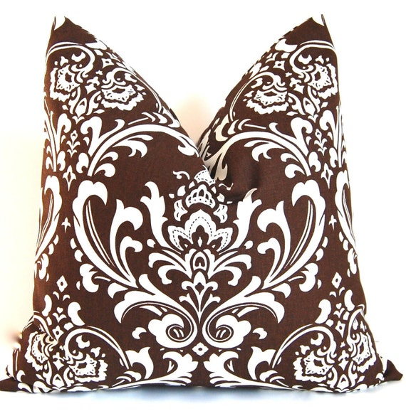 Brown Throw Pillows Etsy : Items similar to Throw Pillows Brown Damask Pillow Covers 18 x 18 Inches - Chocolate Brown on ...