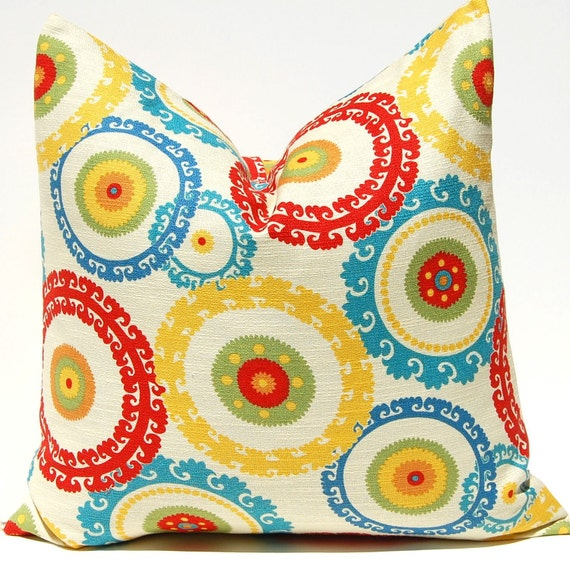 Items similar to Pillow Decorative Throw Pillow Cover ONE - 20 x 20 Inches Designer Suzani in ...