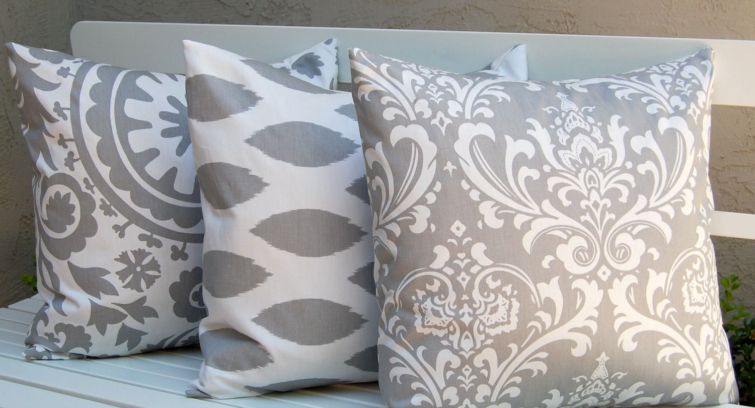 Decorative Pillow Trio : Items similar to Decorative Pillows, Trio of Suzani and Ikat Decorative Throw Pillow Covers with ...