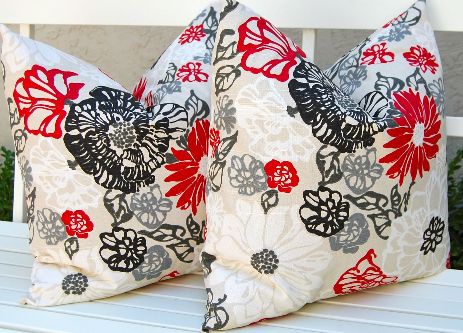 Red Black White Decorative Pillows : Decorative Pillows Invigorate Pillow Covers 20 x 20 Inches