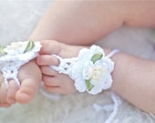 Barefoot Baby Sandals. White cotton Girl chic foot wear for those tiny earth bound toes.