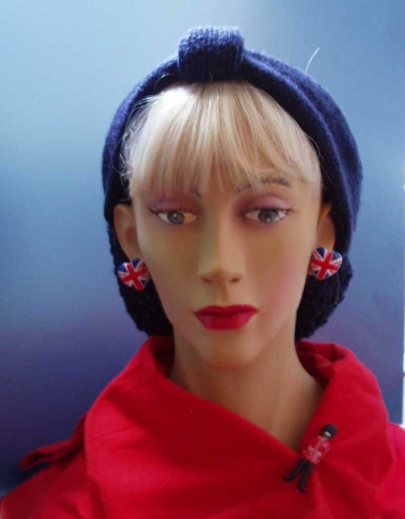 1940s/1950s Bow Hat Band Snood in Navy - Homefront Handknit, Burlesque