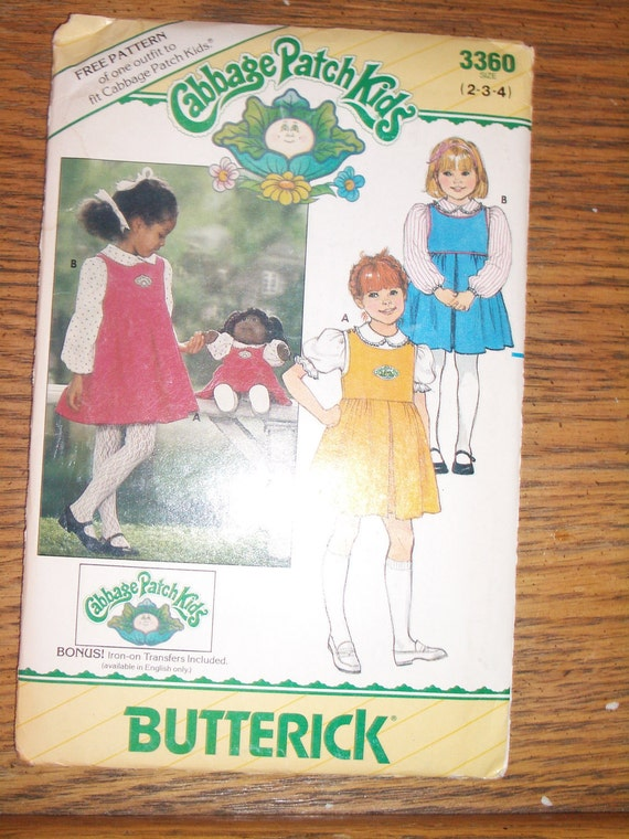 Cabbage Patch Kids sewing pattern size 2-4 number 3360 children's jumper and blouse