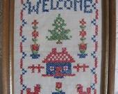 Welcome Sign Vintage Cross Stitch Sampler in 5 x 7 frame