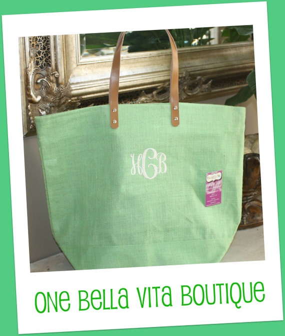 Monogrammed/Personalized Large Jute Tote Bag -Lime Green