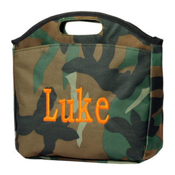 Monogrammed Camo Lunch Bag