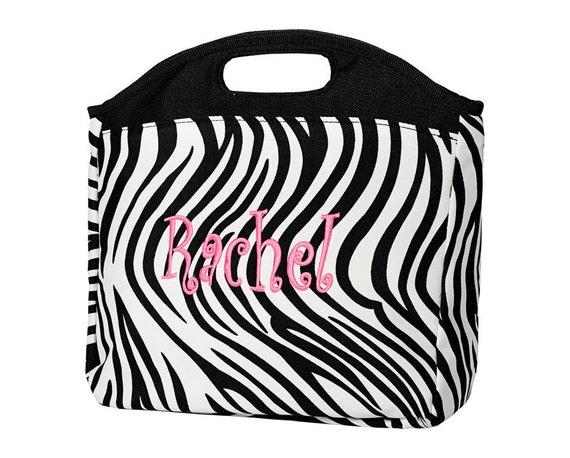 Monogrammed Zebra Lunch Bag
