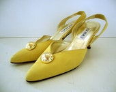 VINTAGE SUPER SALE Escada Yellow Suede Pumps with Gold Ball - Size 7
