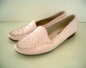 VINTAGE SUPER SALE Rave Reviews Pink Leather Loafers - Size 8