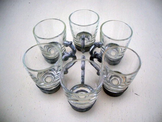 VINTAGE French Shot Glasses with Pewter Handles - Set of 6