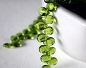 8 x 12 mm Smooth Peridot Teardrop Glass Beads - 10 Pieces
