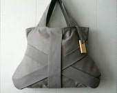 GREY THREE STRAP  / grey purse / grey tote bag / grey fashion bag / chic bag / medium grey handbag - Hashibags