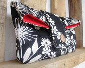 Fold Over Clutch - Black and White  - Great for Day and Night