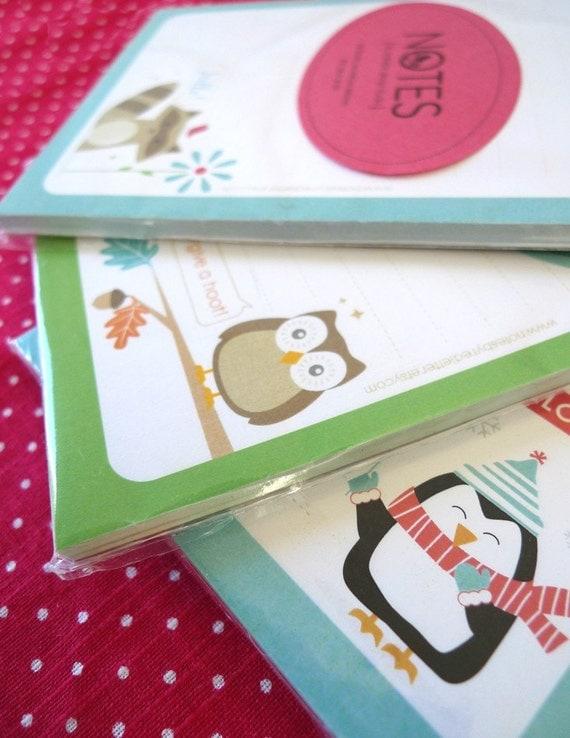 Set of 2 Cute Critter Notepads