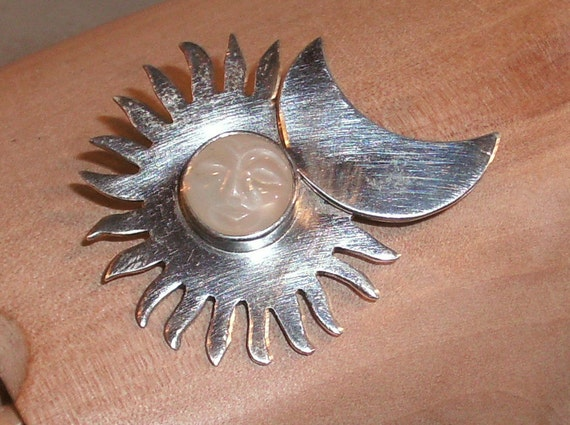 Sun and Crescent Moon with Carved 12MM Moonstone Face, Wear as Pendant or Brooch, 925 sterling