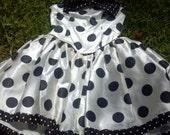 Vintage Scarlett Nite White Satin Dress with Black Polka Dots - Size 11/12