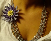Large Purple Flower Necklace