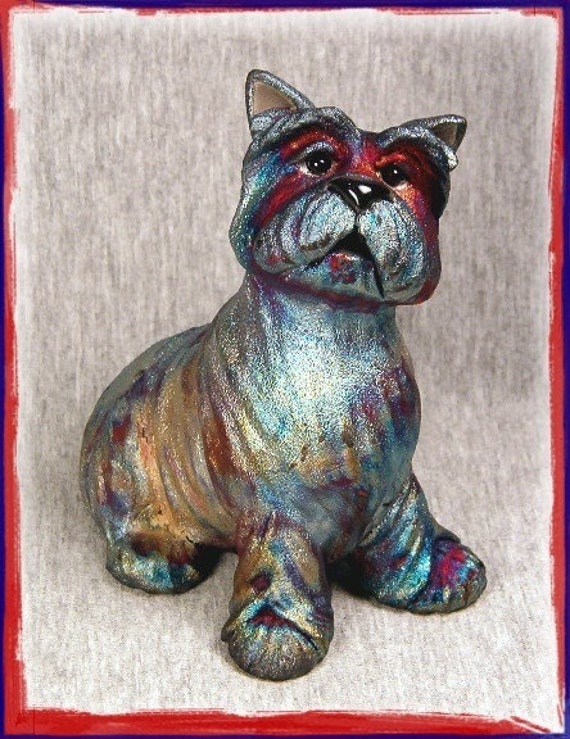 OOAK Raku Terrier Dog Sculpture CASSIUS