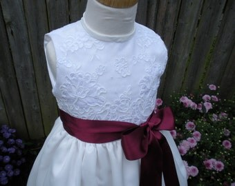 Flower girl, Communion dress with sash size 2
