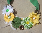 Fabric bib necklace called the Diana spring