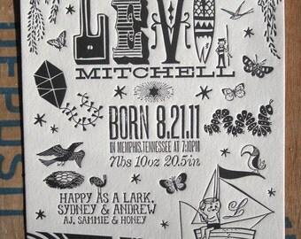 Sunny Summer Afternoon Custom Design Letterpress Birth Announcements