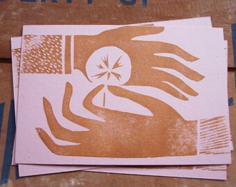 Linocut Block Print Friendship or Love Postcard Pack of 5