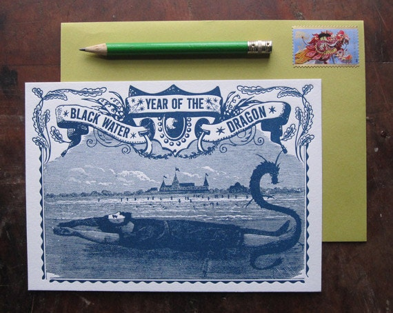 SALE 2 for price of 1 Chinese New Year of the Dragon Letterpress Print Card