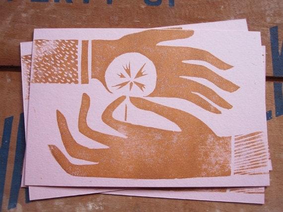 Linocut Block Print Friendship or Love Postcard Pack of 5