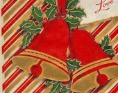 Vintage Christmas Card LOVE  - 1940s