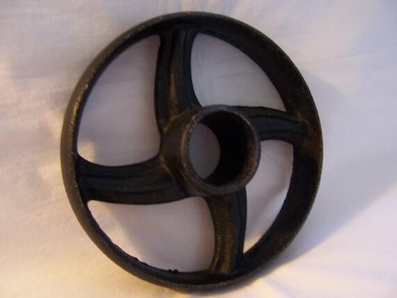 Vintage Salvaged Cast Iron Wheel - Belt Pulley - Industrial Chic