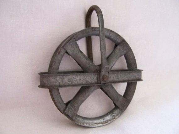RESERVED LISTING for Jon - Small Round Vintage Metal Pulley - Industrial Chic