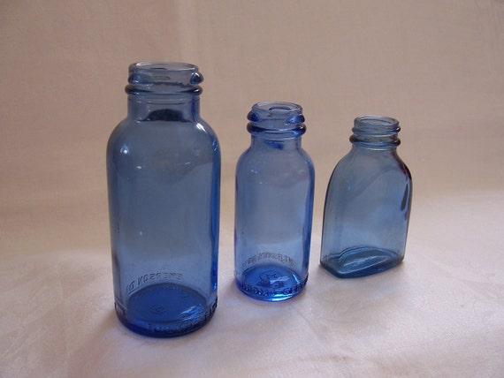 Vintage Blue Glass Bottles - Lot of Three