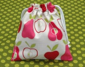 SMALL Reusable Drawstring Bag- for Toys, Gifts, Crafting or Storage Alexander Henry PINK Apple and Pear Fabric