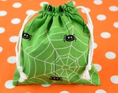 SMALL HALLOWEEN Trick or Treat Bag in Green Spider Web from Boo to You Collection by Riley Blake Designs