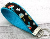 BUY 4 GET 1 FREE- Keychain Wristlet- Key Fob in Colorful Mushrooms on Black and Turquoise