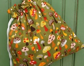 Reusable Drawstring Bag-for Toys, Gifts, Crafting or Storage Mushroom on Green