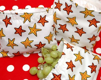 Reusable Sandwich and Snack Sack Kit in Red Yellow Stars
