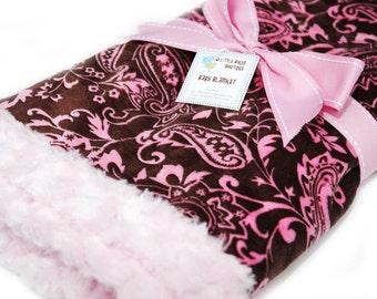 Pink Damask on Brown Minky Baby Crib, Stroller Blanket-Large 28 x 32