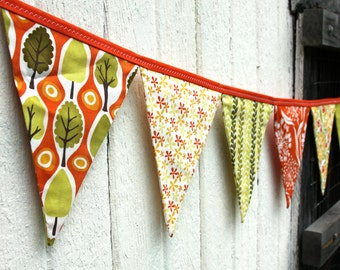 READY to SHIP! Reusable Fabric Bunting, Banner, Pennant, Flag, Garland, Photo Prop, Decoration, Central Park, Orange, Green, Yellow, Floral