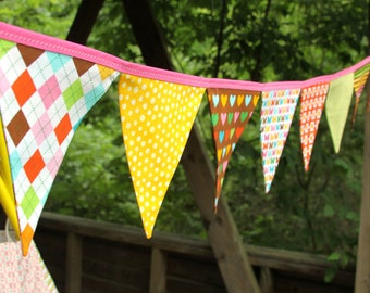 Eco-Friendly Reusable Fabric Bunting, Banner, Pennant, Flag, Garland, Photo Prop, Decoration in Remix Carnival