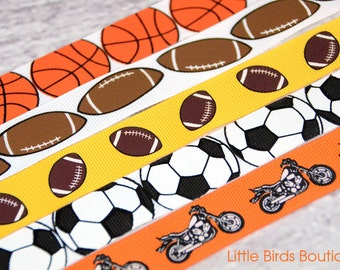 SALE Pacifier Clip Ribbon- YOU CHOOSE Basketball, Football, Soccer, Motorcycle
