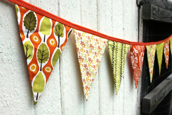 Eco-Friendly Reusable Fabric Bunting, Banner, Pennant, Flag, Garland, Photo Prop, Decoration in Central Park Fabric by Kate Spain for Moda